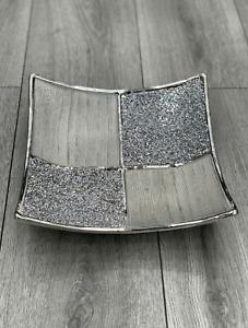 Ceramic Diamond Fruit Bowl SILVER  Romany Wide Crushed Bling Centrepiece UK NEW