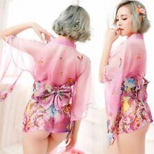 Sexy Pink Japanese Kimono Chiffon Lingerie Nightdress Nightclub Cosplay Costume