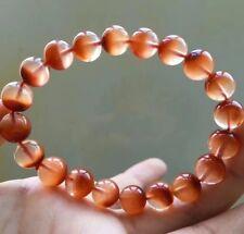 9.7mm Rare Natural Red Rabbit hair Quartz Crystal Round Beads Bracelet AAAA
