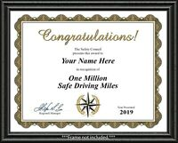 Safe Driving Million Miles Certificate - Truck Tractor Trailer Driver DAD GIFT