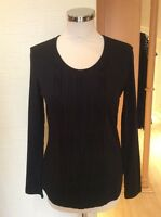 Gerry Weber Top Size 10 BNWT Black Textured Pleated Panel RRP £55 Now £17