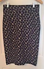 DVF Diane Von Furstenberg Women's Pencil Skirt 6 Blue Black Silver Geometric