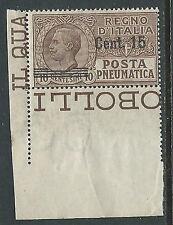 1924-25 REGNO POSTA PNEUMATICA 15 SU 10 CENT LUSSO MNH ** - M19-8