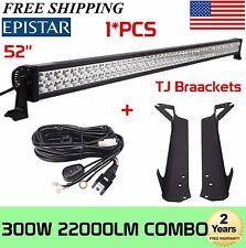 "52"" 300W LED Work Light Bar+Mounting Brackets for Jeep TJ Wrangler+Wiring Kit"