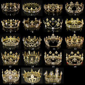 19 Styles Men's Imperial Medieval Fleur De Lis Gold King Full Round Crown Party
