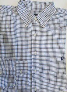 NWT Ralph Lauren Button Down Dress Shirt Off-White/Blue BIG Size 4XB