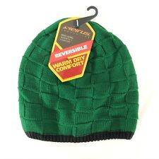 Seirus Beanie Hat Reversible Warm Dry Green Textured Knit Unisex One Size