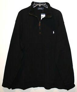 Polo Ralph Lauren Mens Black White Pony 100% Cotton 1/2 Zip Sweater NWT Size M