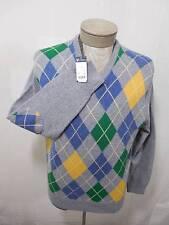 Daniel Cremieux Mens Wool VNeck Sweater Elbow Patch Argyle Knit Blue Gray M $150