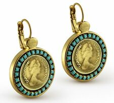 Queen Elizabeth Coin Pound Gold 24k Plated Dangle Earrings Turquoise Stones