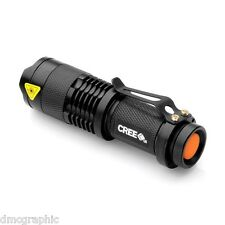Powerful UltraFire Cree Q5 LED Flashlight Aluminium Torch 3 Mode Adjustable Lens