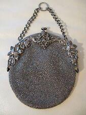 Antique Victorian Art Nouveau Tan Crochet Steel Bead Chatelaine Kilt Purse 289