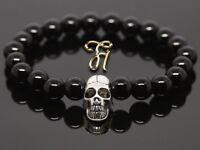 Onyx schwarz glanz 8mm Armband Perlenarmband silberfarbener Totenkopf Skull