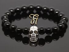 Onyx Black Shiny 0 5/16in Bracelet Pearl Bracelet Silver-Coloured Skull
