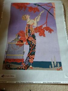 Lady Woman Parrot Art Deco Needlepoint Tapestry Canvas unworked no threads