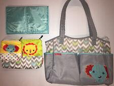 Fisher Price Diaper Bag Elephant Chevron Blue, Gray, & Green
