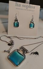 New Lia Sophia Blue Jade Earring & Necklace Set Silver Rhodium Blue Stone signed