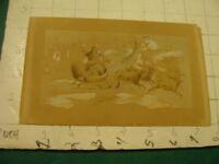 vintage original 1800's drawing of SANTA CLAUS in sleigh w/ reindeer Poem on bac