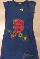 DESIGUAL DRESS EVENING DARK BLUE MULTI COLOR PRINT LINED LOGO STYLISH S/M NEW