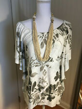 Knit Top CHARLOTTE RUSSE Women's L Off White Brown Dolman Sleeve Blouse