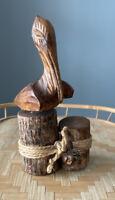 Hand Carved Wood Pelican,Wooden Folk Art Animal Bird Sculpture Figurine Nautical