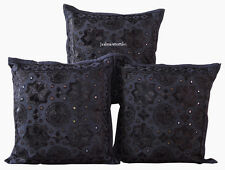 "ETHNIC HOME DECOR ART CUSHION COVER  SET OF 3 BLACK HANDMADE 16X16"" MIRROR WORK"