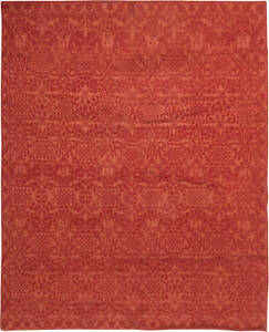 Contemporary Tibetan Red Floral Hand Knotted Rug N10154