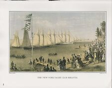 "1972 Vintage Currier & Ives YACHTING ""N.Y. YACHT CLUB REGATTA"" COLOR Lithograph"