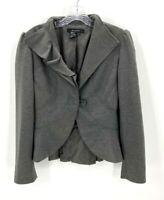 Sandro Womens Gray Ruffle Collar Peplum One Button Jacket Sz Small