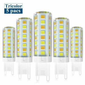 5pcs G9 LED Dimmable Light Bulb 2835 SMD Tricolor Lamp Ceramics 120V Highlight