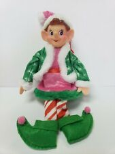 Christmas African Pixie Elf Girl Doll Pink Tree Knee Hugger Ornament Decor