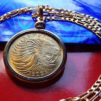 "BRASS GOLDEN LEO SIGN LION BEZEL COIN PENDANT on a 24"" Gold Filled Chain"