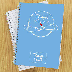 Personalised Baked With Love Recipe Journal Book Notebook Cook, Baking Gift Idea