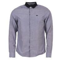 EMPORIO ARMANI Shirt Blue Cotton Size Small RRP £140 MA 137