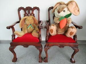 Set of 2 carved antique dools or children's chairs Precious wood around 1900