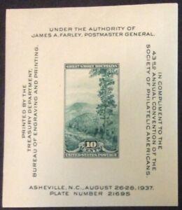 1937 10c Society of Philatelic Americans Souvenir Sheet, Scott #797, MNH, VF