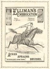 Elliman's embrocation. Aches Sprains Bruises. ADVERT. Lancer. Horse 1896
