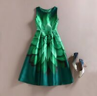 NEW Women Vintage Flower Green Floral Print O Neck Sleeveless Swing Dress SIZE S