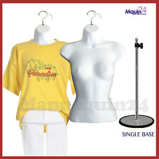 2 White Mannequin Female Torsos + 2 Hangers + 1 Stand, Women'S Dress Forms