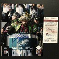 Autographed/Signed JASON KELCE Super Bowl LII Mummers Parade 8x10 Photo JSA COA