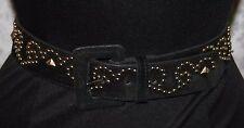 Express Sz S Genuine Leather Belt Black Velvety Decorative Studs Womens
