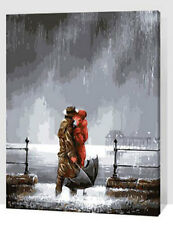 Framed Paint by Numbers kit Time to Say Goodbye In The Rain Painting FZ7058