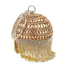 Lady Round Rhinestones Bag Bridal Clutch Purse Tassel Evening Fashion Handbag