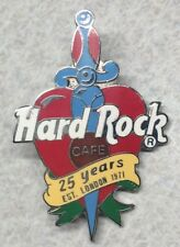 Hard Rock Cafe ~ 25 Years ~ London ~ Heart & Dagger Lapel Hat Pin [H]