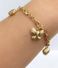 18k Solid Yellow Gold Mix Charms Italy Bracelet,7 Inches, 5.92 grams