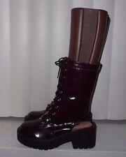 Jeffrey Campbell Burgundy Labrea Lace-Up Cutout Heel Combat Boots $210 Sz 7 NWOB