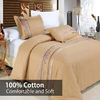 3PC Embroidered Tan Cecilia Silky-Soft 100% Cotton Duvet Cover Set