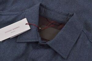Luciano Barbera NWT Outerwear Over Shirt Sz 48 S US Blue Flannel Wool Insulated