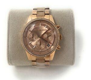 Michael Kors Ladies Ritz Chronograph Rose Gold-Tone Watch MK6598