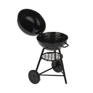 1/12 Dollhouse Picnic Kitchenware Barbeque BBQ Cook Roasting Oven Black